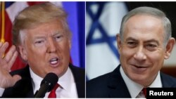 U.S. President-elect Donald Trump speaks during a news conference in the lobby of Trump Tower in Manhattan, New York City, U.S., Jan. 11, 2017 and Israeli Prime Minister Benjamin Netanyahu attends the weekly Cabinet meeting in Jerusalem Jan. 22, 2017 in a combination of file photos.