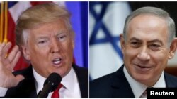 U.S. President-elect Donald Trump speaks during a news conference in New York City, Jan. 11, 2017 and Israeli Prime Minister Benjamin Netanyahu attends the weekly cabinet meeting in Jerusalem Jan. 22, 2017.
