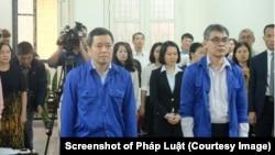 Các bị cáo Từ Thành Nghĩa và Võ Quang Huy bị Tòa án Nhân dân TP Hà Nội hôm 22/3 tuyên tổng cộng hơn 10 năm tù vì tội tham nhũng. (Ảnh chụp màn hình báo Pháp Luật)