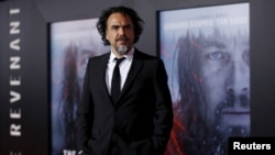 "Director of the movie Alejandro Gonzalez Inarritu poses at the premiere of ""The Revenant"" in Hollywood, California, Dec.16, 2015."