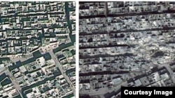 Left: Aerial view of Aleppo from December 2012; right: in February 2013, after ballistic missile strikes. (DigitalGlobe/Atrium/Analysis by AAAS)