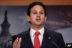 FILE - Sen. Brian Schatz, D-Hawaii, speaks during a news conference on Capitol Hill in Washington, May 24, 2017.