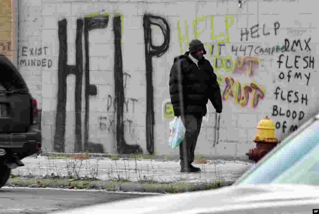 Граффити в центре Детройта.
