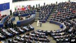 Đức giáo hoàng Phanxicô phát biểu tại Nghị viện Âu châu ở Strasbourg, Ðức, ngày 25/11/2014.