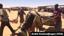 Des rations alimentaires transportées sur un chariot dans le camp de Ouré Cassoni, dans l'Est du Tchad, 15 mai 2017. (VOA/André Kodmadjingar)