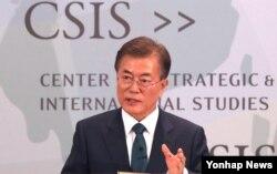FILE - South Korea's President Moon Jae-In speaks at the CSIS seminar in Washington, June 30, 2017.