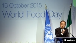 """U.N. Secretary-General Ban Ki-moon speaks at the official celebration of """"World Food Day 2015"""" at Expo Milan in Milan, Italy, Oct. 16, 2015."""