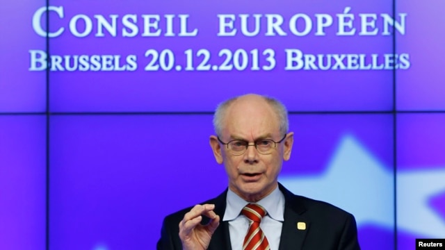 European Union President Herman van Rompuy speaks at a news conference at the end European Union leaders summit in Brussels, Dec. 20, 2013.