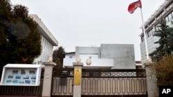 루마니아 부카리스트 주재 북한 대사관 입구.