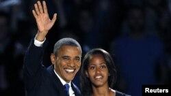 Presidente Barack Obama com a filha Malia