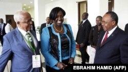 La ministre de l'Eau du Soudan du Sud, Jemma Nunu Kumba (au centre), avec son homologue éthiopien Alemayehu Tegenu (à g.) et son homologue tanzanien Jumanne Maghembe, alors qu'ils participent à un forum sur le Nil le 19 juin 2014 à Khartoum.