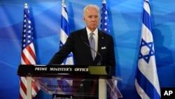 Phó Tổng thống Mỹ Joe Biden tổ chức buổi họp báo chung với Thủ tướng Israel Benjamin Netanyahu tại văn phòng thủ tướng ở Jerusalem, ngày 09/3/2016.