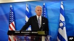 Američki potpredsednik Džo Bajden daje izjavu za medije posle susreta sa izraelskim premijerom Benjaminom Netanjahuom u Jerusalimu