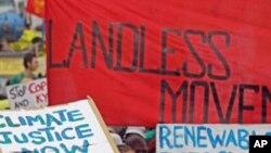Des manifestants à la conférence de Durban