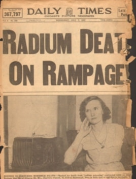 Chicago's Daily Times story from July 7, 1937 reports former Radium Dial worker Charlotte Purcell, who joined Catherine Wolfe Donahue in her lawsuit, 'lives in daily fear of end that is inevitable.'