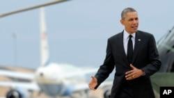 Predsednik Barak Obama u vazduhoplovnoj vojnoj bazi Endrjuz u Merilendu, 7. maja 2014.
