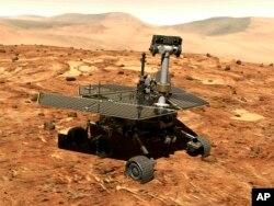 ພາບແຕ້ມຈຳລອງນີ້ ນຳສະເໜີໂດຍ ອົງການນາຊາ (NASA) ສະແດງໃຫ້ເຫັນ ລົດສຳຫຼວດ Opportunity ຢູ່ເທິງພື້ນຜິວຂອງດາວອັງຄານ.