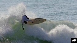Surfing off the coast of Ocracoke Island