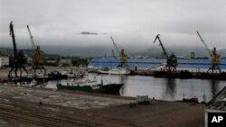 지난 달 20일 북한 라선 지구에 건설 중인 라진 1부두와 2부두.