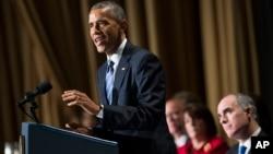 El presidente Obama durante el Desayuno Nacional de Oración en Washington.