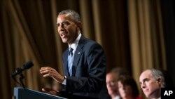 2015年2月4日,奥巴马总统在华盛顿举行的国家早餐祈祷会上讲话