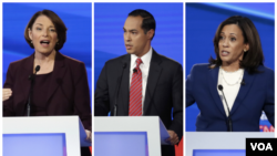 Amy Klobuchar, Julian Castro ve Kamala Harris