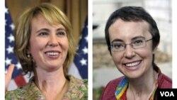 La fotografía compuesta muestra a la izquierda, a la representante Gabrielle Giffords, durante su juramento en el Capitolio el 5 de enero de 2011, y a la derecha, Giffords es vista el 17 de mayo de 2011, en el Hospital en Houston.