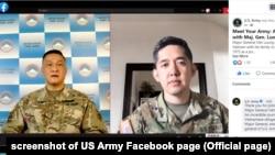 Thiếu tướng Lương Xuân Việt (trái) nói chuyện nhân Tháng Di sản Người Mỹ gốc Á và Thái Bình Dương trên trang US Army, 18/5/21.