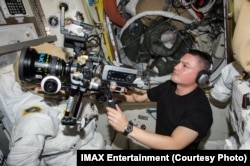 The IMAX cameras used to record video for the 2010 documentary about repairing the Hubble were bulky and a bit unwieldy in zero gravity