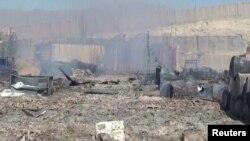 지난 7일 아프가니스탄 와닥 지역에서 탈레반 공격이 있은 후 경찰 본부 모습. (자료사진)