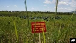 在橙剂清理工作开工典礼上,前美军岘港机场二恶英污染土地插上了警告牌