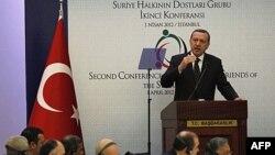 رجب طیب اردوغان، نخست وزیر ترکیه در کنفرانس «دوستان سوریه» در استانبول