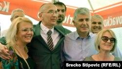 Borjana Krišto, Dragan Čović i Marinko Čavara na dočeku Darija Kordića u Busovači 22. juna 2014. godine