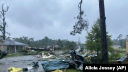 美聯社照片:熱帶低氣壓克勞迪特在阿拉巴馬州造成的損失。