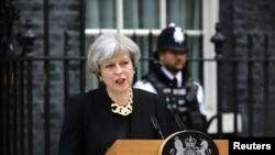 Premye Minis Britaniik la, Theresa May.