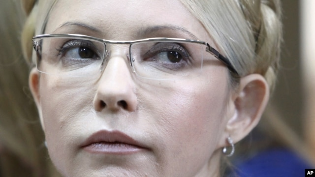 Former Ukrainian Prime Minister Yulia Tymoshenko is pictured during her trial, at the Pecherskiy District Court in Kiev, Ukraine, October 11, 2011