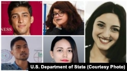 The U.S. State Department's Global Emerging Young Leaders Award winners are, clockwise, from top left, Ahmad Shakib Mohsanyar, Ahlem Nasraoui, Nino Nanitashvili, Thinzar Shunlei Yi and Zulfirman Rahyantel.