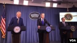 美國國務次卿香農(左)、國防部副部長沙納罕(中)和能源部副部長佈魯耶特(右)2018年2月2日在五角大樓的記者會上公佈核態勢評估報告(美國之音葉林拍攝)