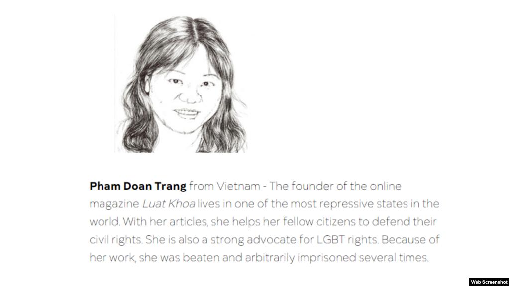 Blogger Phạm Đoan Trang của Việt Nam được nhận giải Tự do Báo chí năm 2019. Photo RSF.