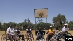 Members of the Rift Valley Wheelchair Basketball group in Eldoret, Kenya, on March 19, 2012. These athletes with disabilities participate together in income-generating activities, community service projects, and sporting events. (Jill Craig/VOA)