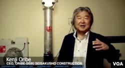 일본에서 가정용 지하 핵 방공호를 제작하는 `오리베-세이키 세이샤쿠쇼' 사의 오리베 겐지 사장이 VOA와 인터뷰하고 있다.