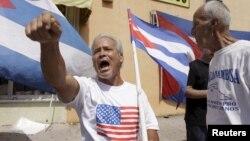 Anti-Castro activist protests in Little Havana in Miami, Florida, July 20, 2015.