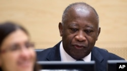 Former Ivory Coast President Laurent Gbagbo at International Criminal Court (file photo)
