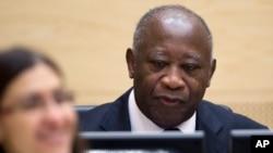 Former Ivory Coast President Laurent Gbagbo at International Criminal Court (file photo)