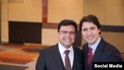 مجید جوهری در کنار جاستین ترودو رهبر حزب لیبرال