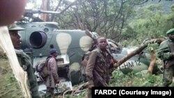L'armée congolaise a retrouvé ses deux hélicoptères Mi-24 après deux crashs dans le nord-est de la RDC, Nord-Kivu, 31 janvier 2017. Crédit/FRADC