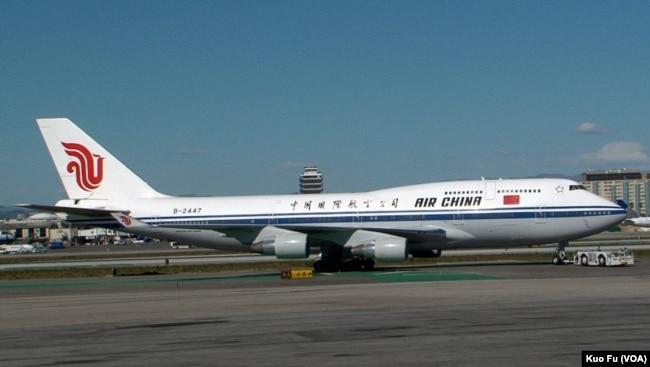 中國國際航空公司的航班飛機(美國之音國符拍攝)