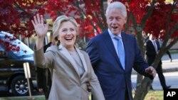 Hillary et son époux Bill Clinton,à Chappaqua, dans l'état du New York, le 8 novembre 2016.
