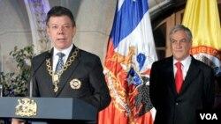 El presidente Santos dijo que acordó con Piñera analizar la posibilidad de suministrar energía eléctrica al norte de Chile.