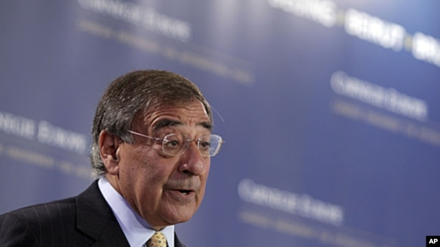 US Defense Secretary Leon Panetta speaks during a Carnegie Think Tank event at the Conrad Hotel in Brussels, October 5, 2011.
